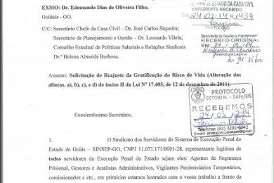 Photo of SINSEP-GO Protocola Oficio Solicitando Reajuste da Gratificação do Risco de Vida